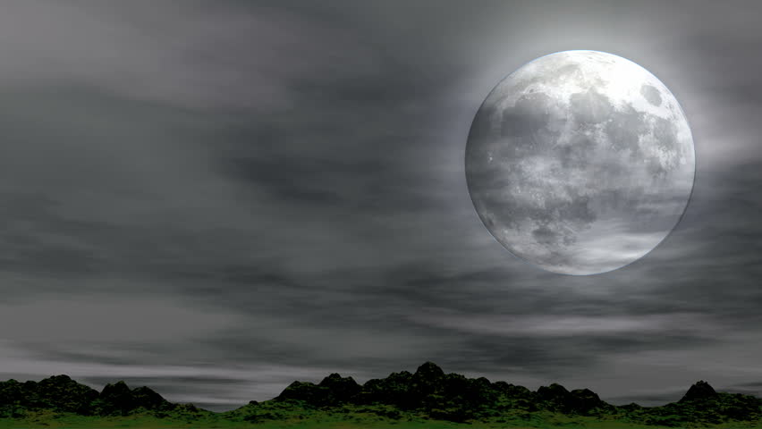 Time lapse telescopic view of large full moon with slightly out-of-focus wispy clouds passing overhead. This is a seamless looping clip   Shutterstock HD Video #518539