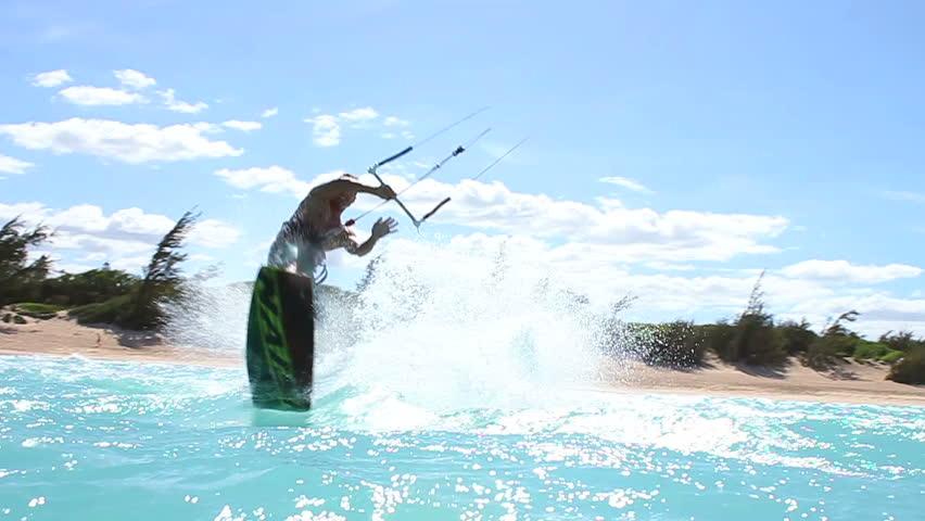 Kite Surfing In Ocean, Extreme summer sport hd