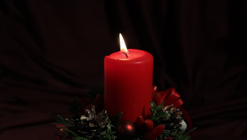 Christmas Decoration. a Lighted Candle Stock Footage Video (100 ...