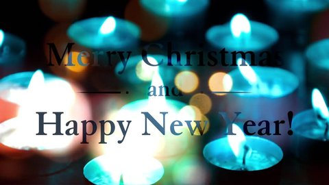 Merry Christmas And Happy New Year Colorful Animated Greeting Card With Candles In Background