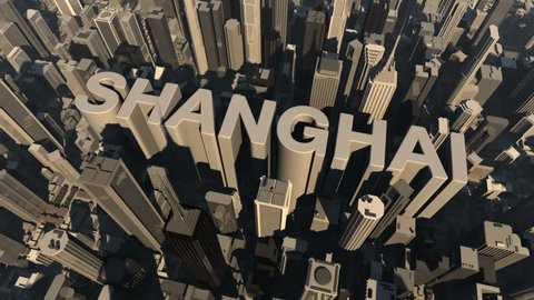 animation from the city name Shanghai with building