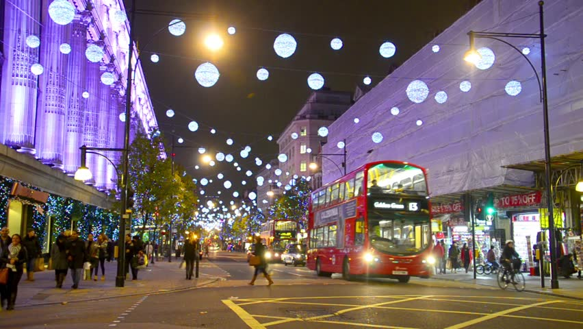 LONDON - DEC 07: Foot traffic on Oxford Street, Dec 07 2013, London, England.