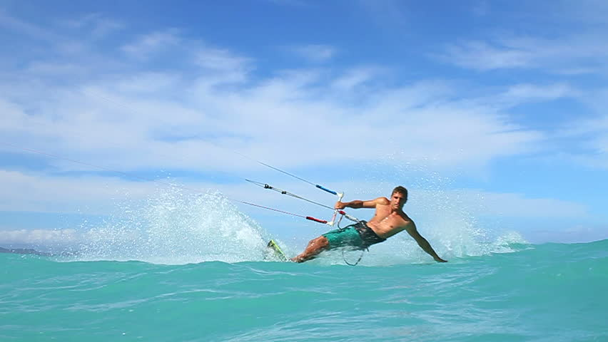 Young Man Kite Surfing In Ocean, Extreme summer sport hd, slow motion