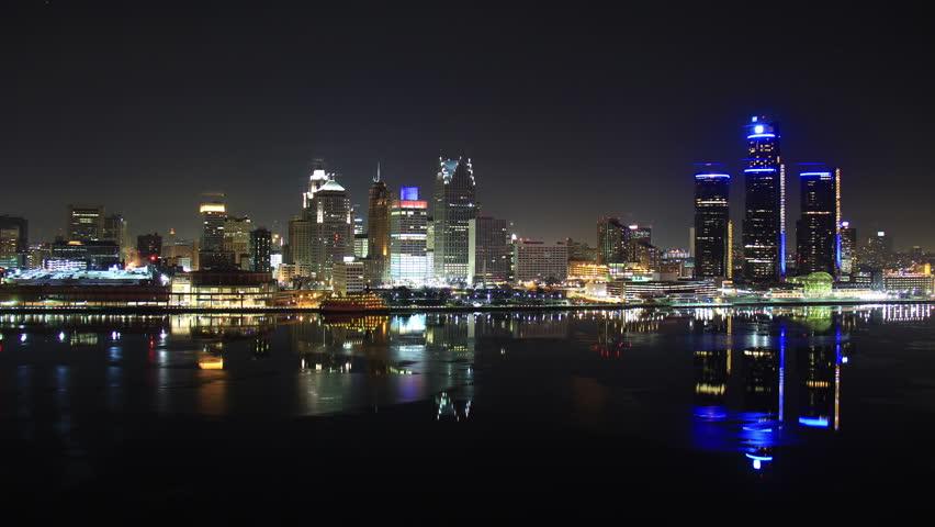 DETROIT - CIRCA NOVEMBER 2013: City skyline during a cold winter at night circa