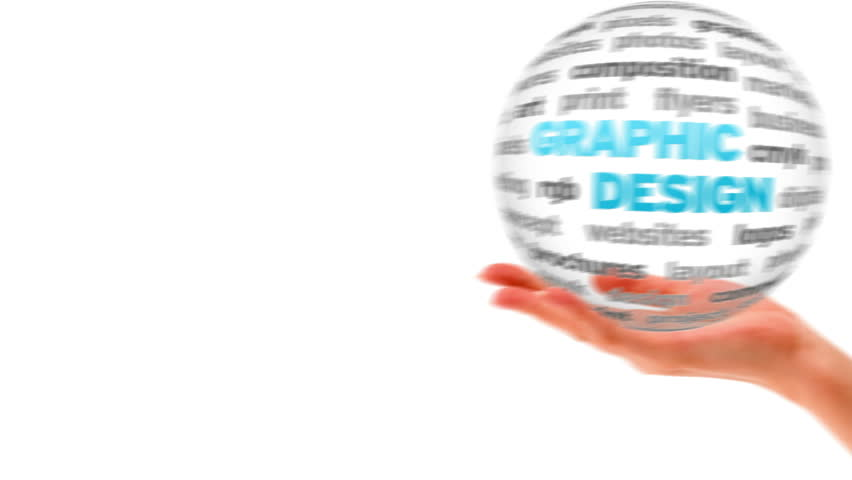 A person holding a 3d Graphic Design word sphere