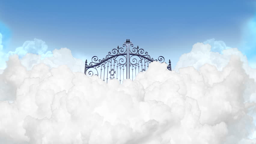 A Slow Zoom Depiction Of The Gates To Heaven In The Clouds
