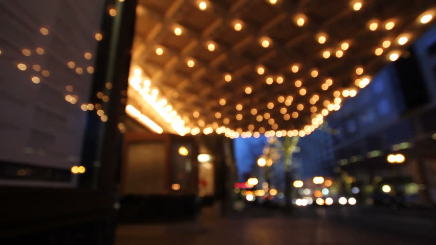Historic Theater Marquee Lights at Blue Hour with Rush Hour Traffic along Broadway Street in Downtown Portland Oregon 1920x1080 #5227463