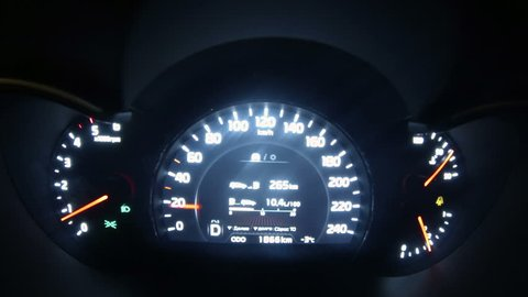 Car dashboard with speedometer. Tamelapse