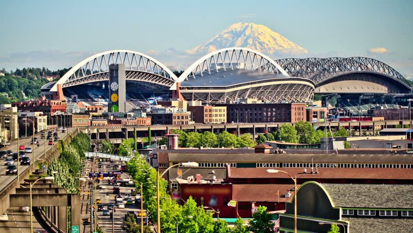 Seattle city traffic time lapse with Mt Rainer in background.