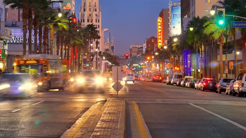 Night traffic on Hollywood Boulevard in Los Angeles. Timelapse. | Shutterstock HD Video #5267030