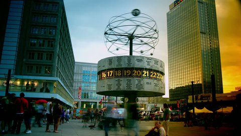 BERLIN - August 3: World clock in Alexanderplatz on 3 August 2013 ,Time lapse,4k. Alexanderplatz is a large square and transport hub, named in honor of a visit of the Russian Emperor Alexander I.
