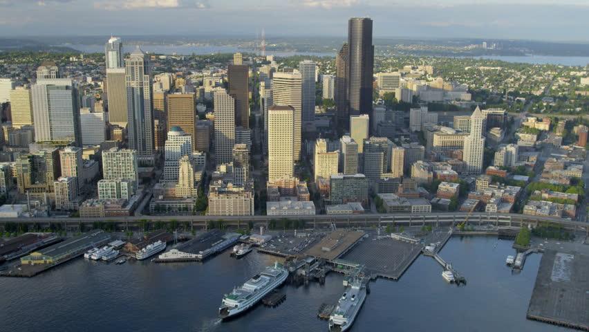 Aerial Coastal View Downtown Seattle Business Center Alaskan Way