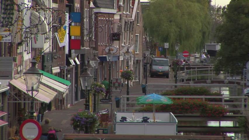 Dutch street scene back zoom view Maassluis The Netherlands | Shutterstock HD Video #5290196