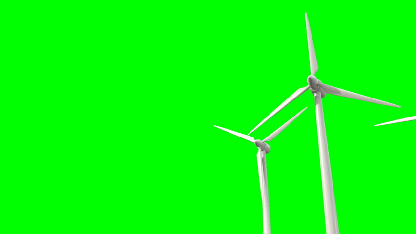 Regular wind turbines rotating in the wind on a green screen background