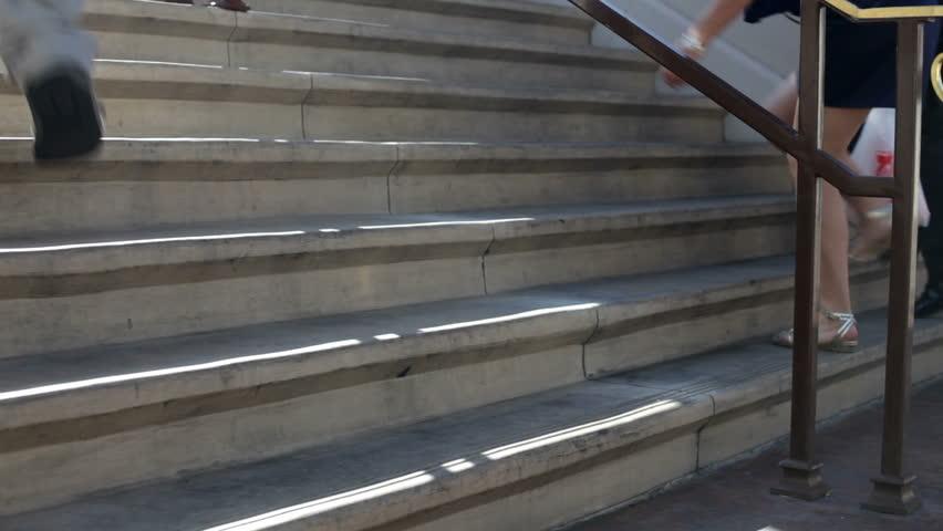 Feet walking up concrete steps | Shutterstock HD Video #5302169