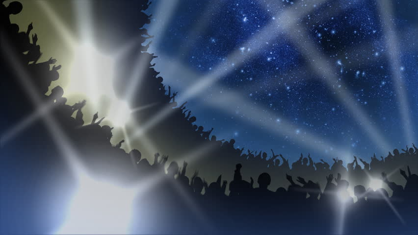 Crowd of cheering silhouettes in a packed arena under the stars