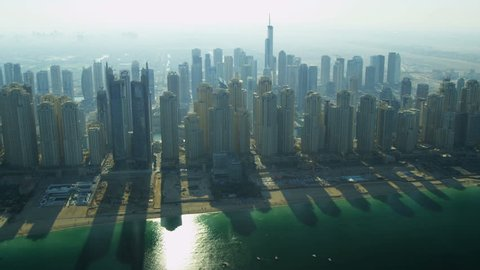 Aerial view Dubai city skyscrapers, Jumeirah Beach, UAE, Middle East, RED EPIC, 4K, UHD, Ultra HD resolution