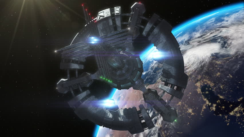 Highly detailed huge spaceship approaching to the Earth.