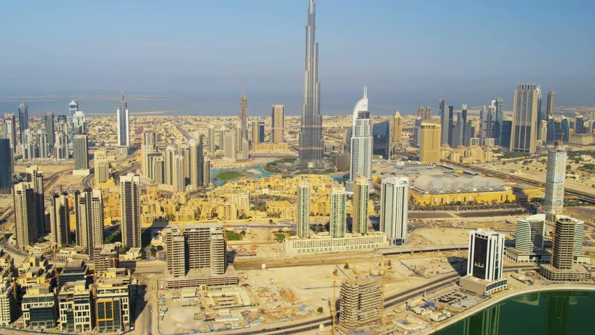 Dubai - November 18: Aerial view Burj Khalifa Lake and Burj Khalifa downtown Dubai November 18, 2012 RED EPIC, 4K, UHD, Ultra HD resolution