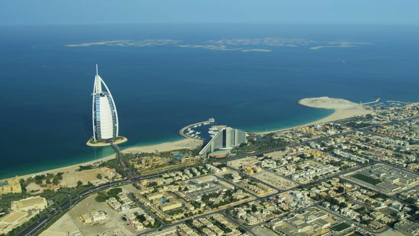 Dubai - November 18: Aerial view Dubai coastline, Burj Al Arab, Jumeirah Beach Hotel Dubai November 18, 2012 RED EPIC, 4K, UHD, Ultra HD resolution