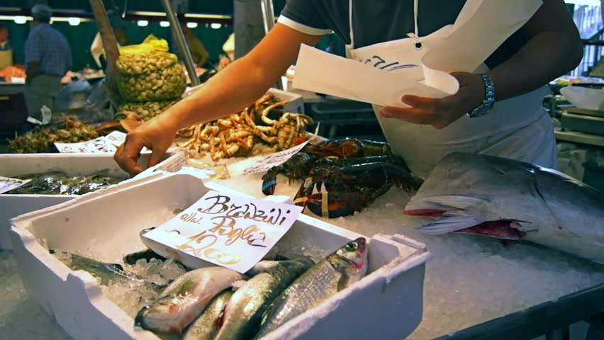 Shooting of fresh seafood and fish  for sale at a market, Venice, Veneto, Italy