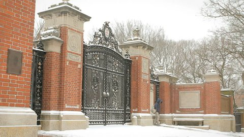 Brown University Gates Ivy League College Campus located in Providence, Rhode Island winter snow scene