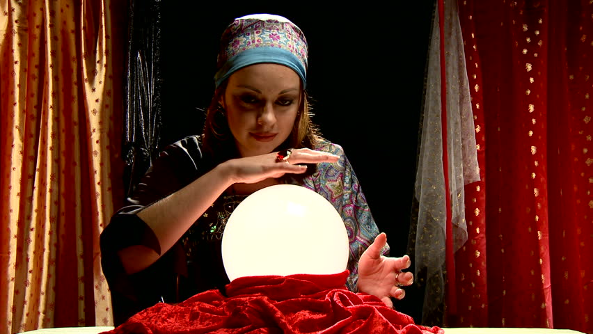 Fortune Teller Gypsy Behind Crystal Ball Her Fingers Move