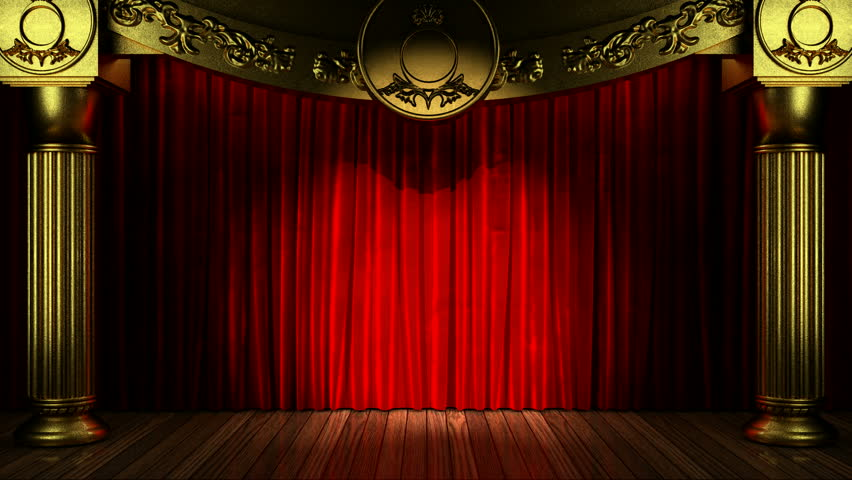 Opening Blue Theatre Velvet Curtains The Alpha Channel Is