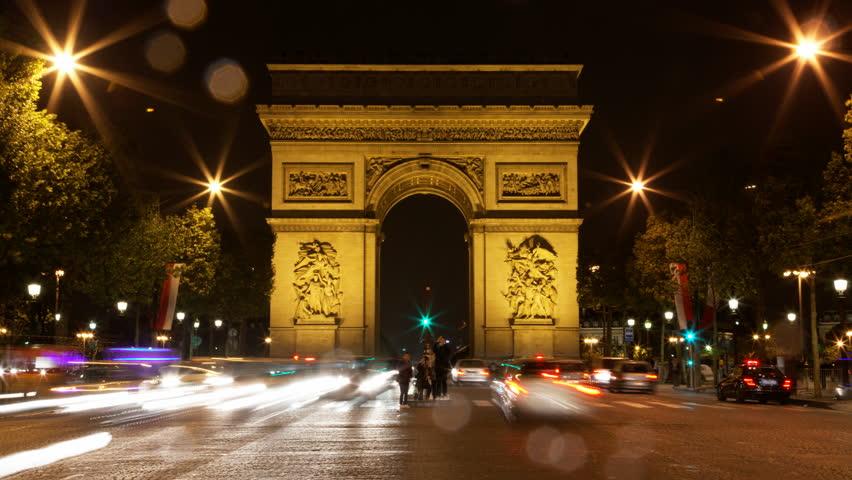 Paris, France - CIRCA 2013: Arch of Triumph rain at night, Traffic time lapse 4K UHD | Shutterstock HD Video #5365139