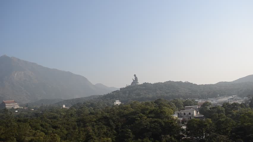 View from cable car on giant buddha on lantau mountain | Shutterstock HD Video #5391659