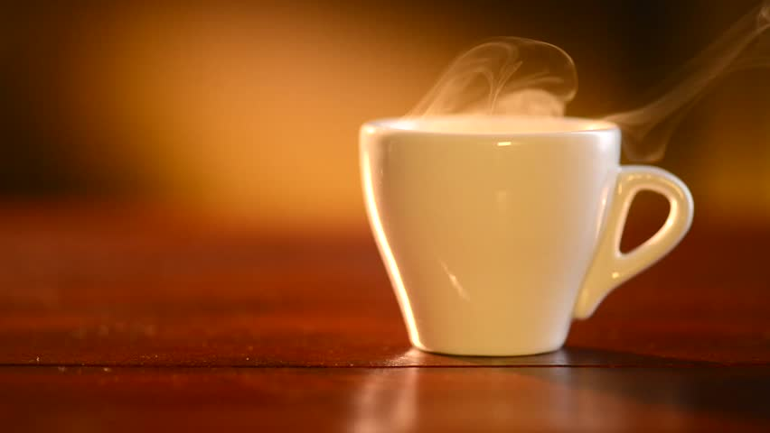 Cup of Hot Coffee Espresso. Coffee or Tea. Brown Cup of hot beverage with Steam. Espresso Coffee closeup. HD video Footage #5393024