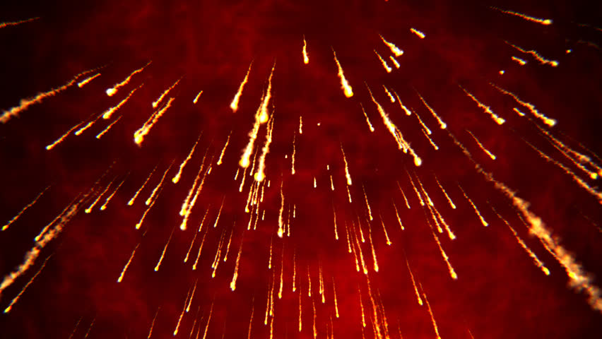Abstract Animation Of Fire Rain Volcano Eruption Shining
