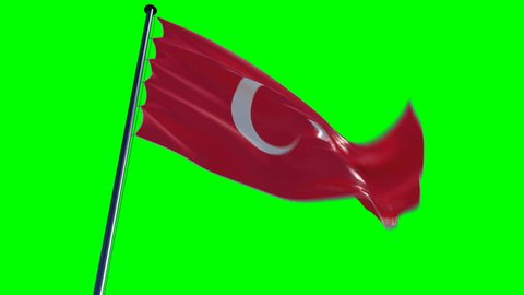 Turkey Flag with greenscreen and alpha. ready to use animation of the turkish flag animated on a green screen background with alpha channel.   See my other flags of different countries