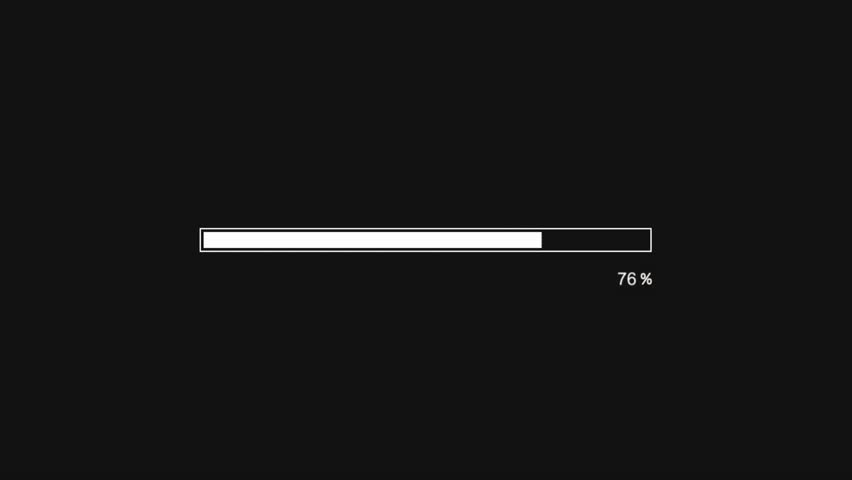 loading bar animation on black screen