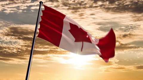 Canada Flag, HQ animated on an epic background