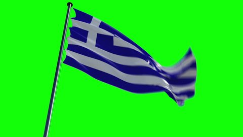 Greece Flag, HQ animated on an epic background, greenscreen and alpha