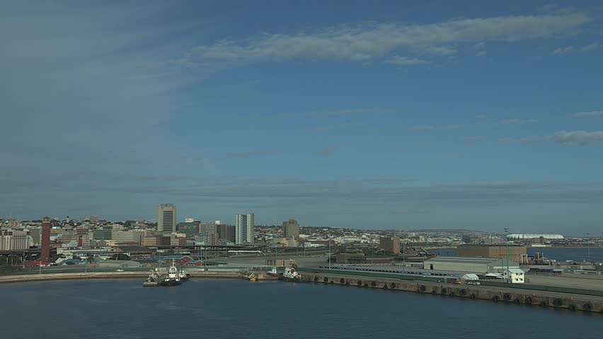 Wide shot of the city of Port Elizabeth taken from the harbor.
