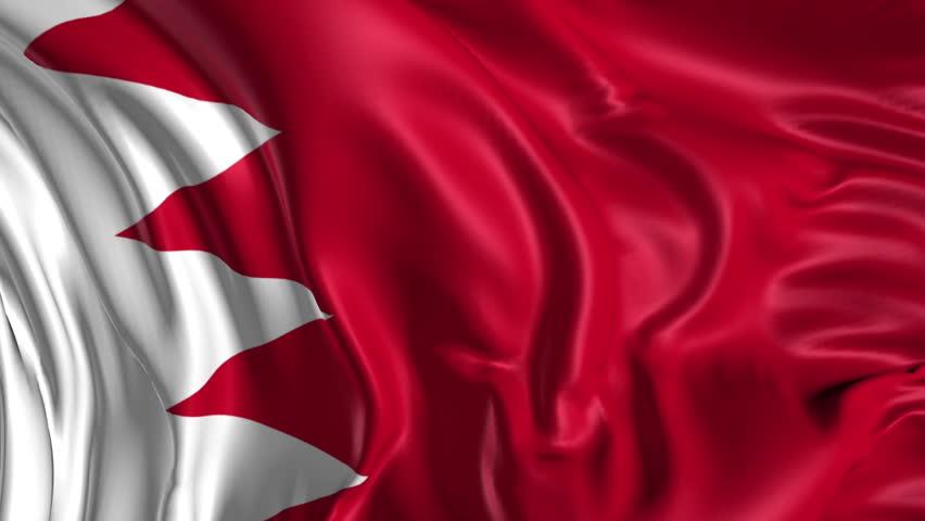 Flag of Bahrain Beautiful   3d animation of Bahrain flag in loop mode