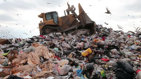Movie of a truck working in a landfill