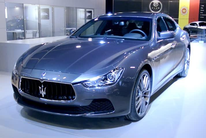 BRUSSELS, BELGIUM   JANUARY 14, 2014: Maserati Ghibli Luxury Sport Saloon  Car On
