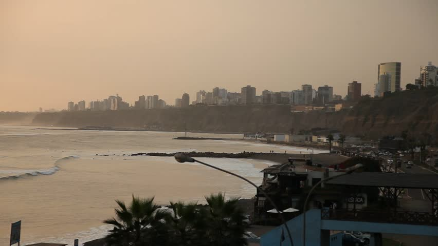 video footage of the skyline of the city of Lima, Peru, South America at the pacific ocean