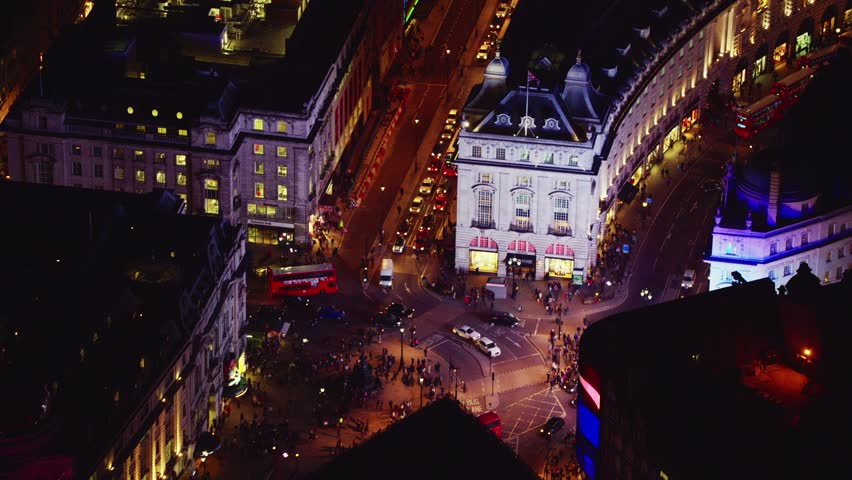 Aerial shot over Central London's Piccadilly Circus at night