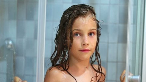 Little Girl Closes Shower Unit Stock Footage Video (100% Royalty-free)  5488049 | Shutterstock
