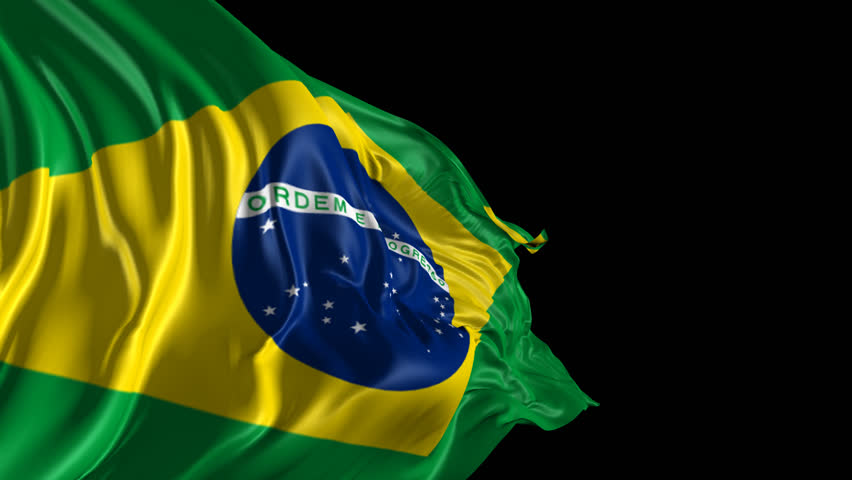 Flag of Brazil Beautiful   3d animation of Brazil flag with alpha channel