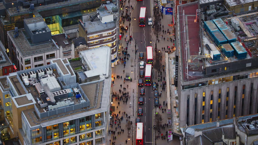 4K Aerial shot of Central London with view of Oxford Street