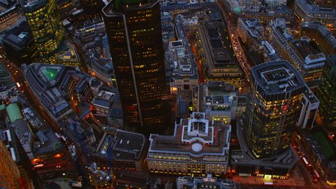 4K Aerial shot of Central London with a view of the City Financial District, Liverpool Street & Tower 42