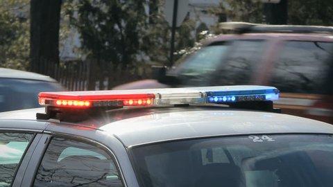 Police car with siren lights flashing 1920x1080
