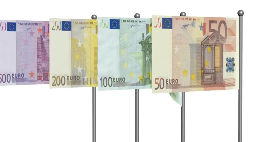 Euro banknotes flags 3d animation on white background | Shutterstock HD Video #5562479