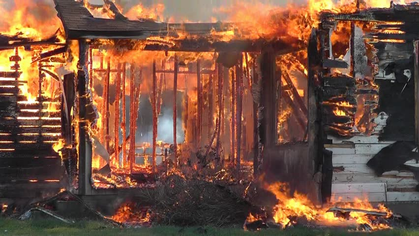 A Blazing House Fire Has Destroyed This Old Farmhouse Stock Footage Video 2856244 Shutterstock