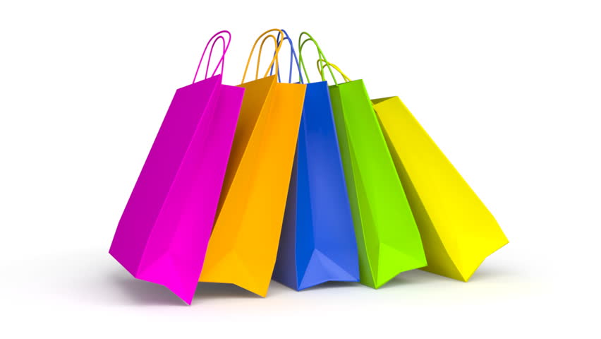 3D Animation Of Three Colorful Shopping Bags Turning Around Stock ...